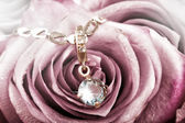 Beautiful gold pendant with big blue topaz — Stock Photo