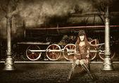 Steampunk and retro-futurism style. Woman traveler — Stock Photo