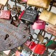 COLOGNE, GERMANY - AUGUST 26, 2014, Thousands of love locks which sweethearts lock to the Hohenzollern Bridge to symbolize their love on August 26 in Koln, Germany  — Stock Photo #52275743
