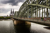Cologne Cathedral and Hohenzollern Bridge, Cologne, Germany — Stock Photo