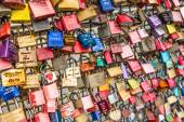 COLOGNE, GERMANY - AUGUST 26, 2014, Thousands of love locks which sweethearts lock to the Hohenzollern Bridge to symbolize their love on August 26 in Koln, Germany  — Stock Photo