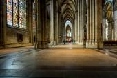 COLOGNE, GERMANY - AUGUST 26: walk way inside the Cologne Cathedral on August 26, 2014 in Cologne, Germany. commenced in 1248 and complete finished in 1880  — Stock Photo