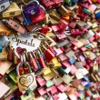 COLOGNE, GERMANY - AUGUST 26, 2014, Thousands of love locks which sweethearts lock to the Hohenzollern Bridge to symbolize their love on August 26 in Koln, Germany  — Stock Photo #52550981