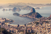 Rio de janeiro, brésil. suggar pain et botafogo plage vue du corcovado — Photo
