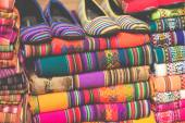 Colorful Fabric at market in Peru, South America — Stock Photo