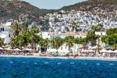 BODRUM, TURKEY - JUNE 24, 2014: Aerial view to the city. Bodrum is famous for housing the Mausoleum of Halikarnassus, one of the Seven Wonders of the World  — Stock Photo
