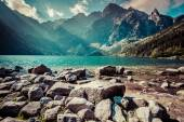 Green water mountain lake Morskie Oko, Tatra Mountains, Poland — Stock Photo