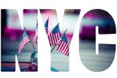 American flags during 4th of July parade — Stock Photo