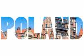 Word POLAND Colorful houses in Gdansk. — Stock Photo