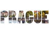 Word PRAGUE over city symbols. — Stockfoto