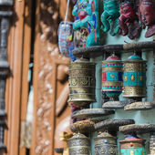 Nepalese Prayer Wheels on Swayambhunath stupa in Kathmandu, Nepa — Stock Photo