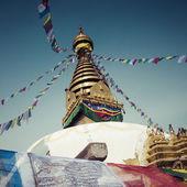 Stupa in Swayambhunath Monkey temple in Kathmandu, Nepal. — Stock Photo
