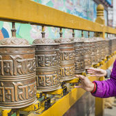 Buddhist prayer wheels, Kathmandu, Nepal. — Stock Photo