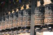 Buddhist prayer wheels, Kathmandu, Nepal. — Photo