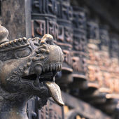 Lions, symbols of power and protection, in Bhaktapur Temple ,the — Stock Photo