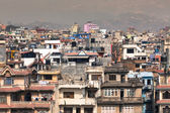 Mountain and view of city Kathmandu in Nepal — Stock Photo