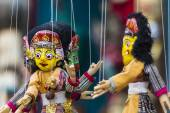 Masks, dolls and souvenirs in street shop at Durbar Square in Ka — Stock Photo