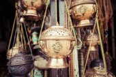 Traditional souvenir in local Nepal market. — Stock Photo