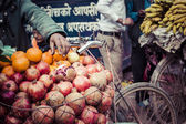 The hawker sell his fruits in Thamel in Katmandu, Nepal. — Stock Photo