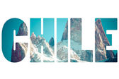 Word CHILE over mountains. — Fotografia Stock