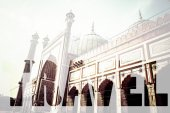 Word TRAVEL over Famous Jama Masjid Mosque in old Delhi, India. — Stock Photo