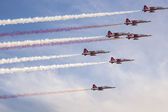 "POZNAN, POLAND - JUNE 14: Aerobatic group formation ""Turkish Sta — Stock Photo"