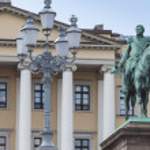 Постер, плакат: Statue of Norwegian King Carl Johan XIV in Oslo