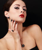 Style sexy female model with manicured hands with ring on the finger and red lipstick — ストック写真