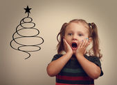Fun surprising happy child girl looking on christmas fur tree illustration. — Stock Photo