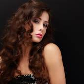 Beautiful fashion female model with long brown hair looking — Stock Photo