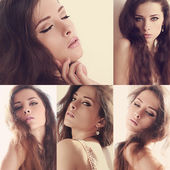 Collage of beautiful makeup woman with long brown hair in differ — Stock Photo