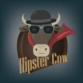 Hipster cow — Stock Vector