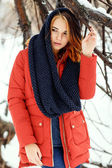 Portrait of a young and beautiful  woman in a winter park.  — Stock Photo