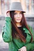 Portrait of a beautiful adult sensual woman in hat. — Stock Photo