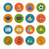 Flat education icons set  — Stock Vector
