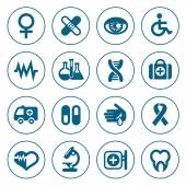 Flat line medical icons set — Stock Vector