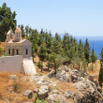Church with beautiful sea view on Crete island, Greece — Stock Photo #52683811