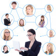 Young business woman with laptop and her social network isolated — Stock Photo #52807459