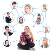 Teenage girl with smart phone and her social network isolated on — Stock Photo