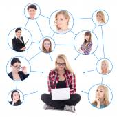 Happy teenage girl with laptop and her social network isolated o — Stock Photo