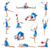 Collection of little girl in blue doing gymnastics isolated on w — Stock Photo