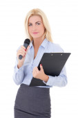 Portrait of young female journalist with microphone and clipboar — Stock Photo