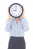 Business woman with office clock covering face isolated on white — ストック写真