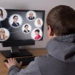 Social media concept - man using a computer — Stock Photo #53911437