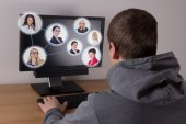 Social media concept - man using a computer — Photo
