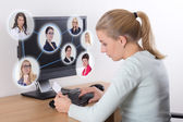 Job search concept - woman using personal computer — Stock Photo