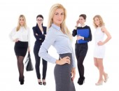 Young attractive successful business women isolated on white — Stock Photo