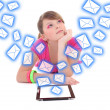 Dreaming teenage girl with tablet pc and flying messages isolate — Stock Photo #55386707