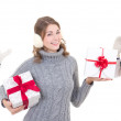 Three happy attractive women in winter clothes with christmas pr — Stock Photo #55386769