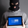 Data stealing concept - masked man with computer over grey — Stock Photo #56166399